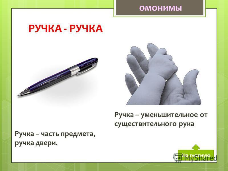 РУЧКА - РУЧКА Ручка – часть предмета, ручка двери. Ручка – уменьшительное от существительного рука омонимы На главную
