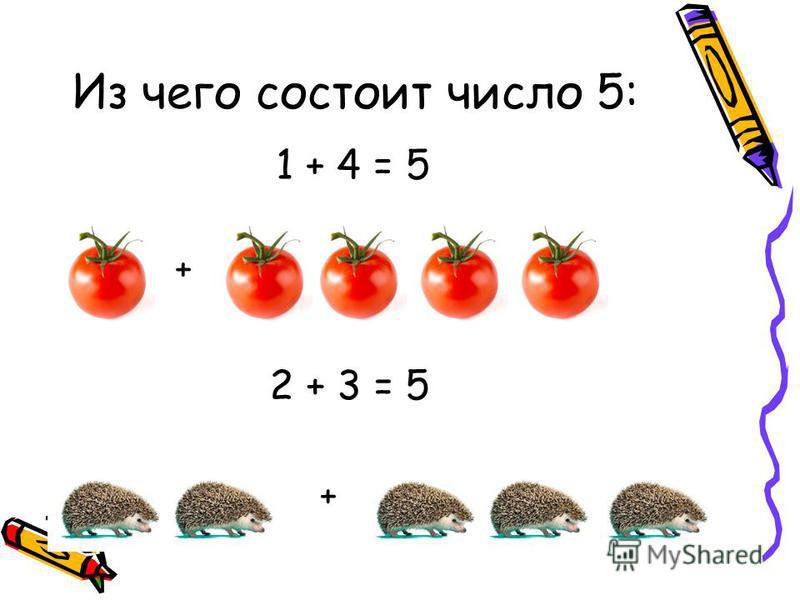 Из чего состоит число 5: 1 + 4 = 5 + 2 + 3 = 5 +