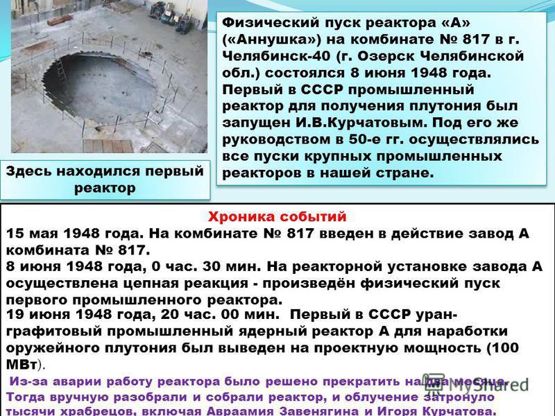 Здесь находился первый реактор Физический пуск реактора «А» («Аннушка») на комбинате 817 в г. Челябинск-40 (г. Озерск Челябинской обл.) состоялся 8 июня 1948 года. Первый в СССР промышленный реактор для получения плутония был запущен И.В.Курчатовым.