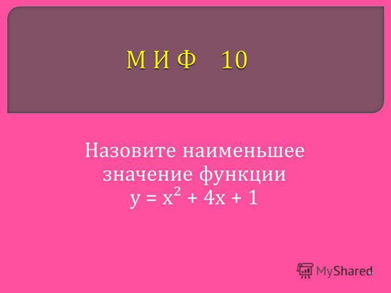 Назовите наименьшее значение функции у = х ² + 4 х + 1 *