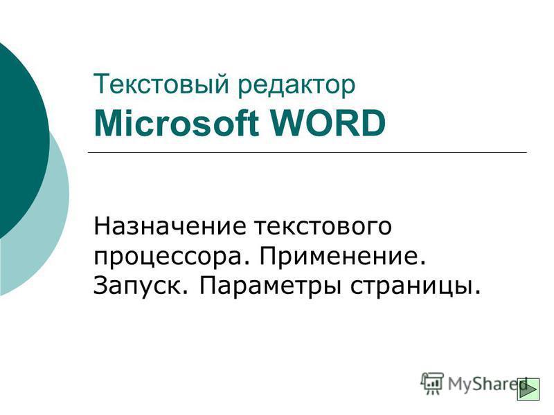 Текстовый редактор Microsoft WORD Назначение текстового процессора. Применение. Запуск. Параметры страницы.