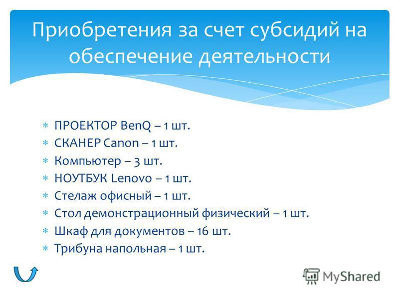 ПРОЕКТОР BenQ – 1 шт. СКАНЕР Canon – 1 шт. Компьютер – 3 шт. НОУТБУК Lenovo – 1 шт. Стелаж офисный – 1 шт. Стол демонстрационный физический – 1 шт. Шкаф для документов – 16 шт. Трибуна напольная – 1 шт. Приобретения за счет субсидий на обеспечение де