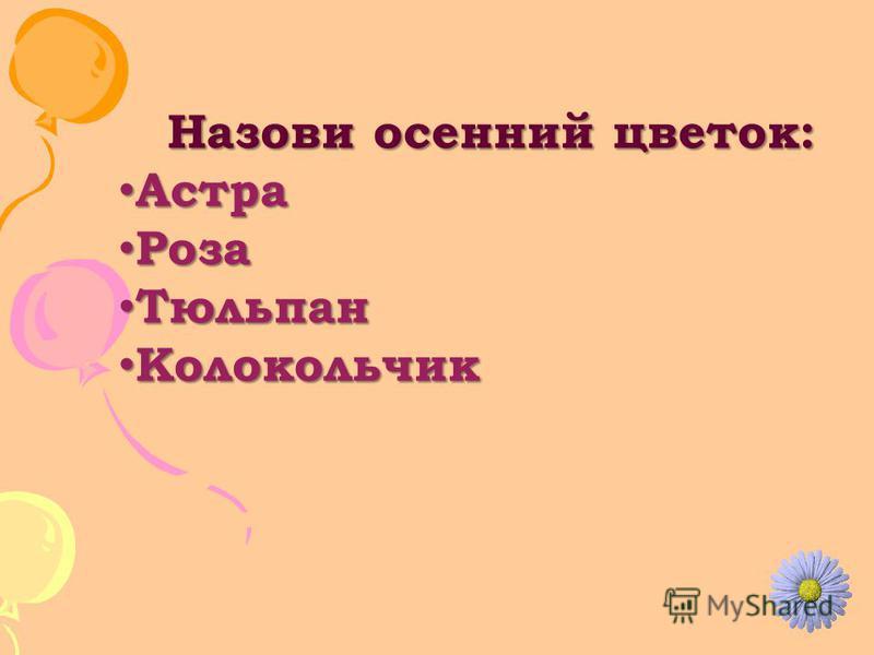 Назови осенний цветок: Астра Астра Роза Роза Тюльпан Тюльпан Колокольчик Колокольчик