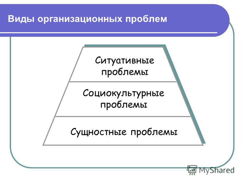 Виды организационных проблем Сущностные проблемы Социокультурные проблемы Ситуативные проблемы