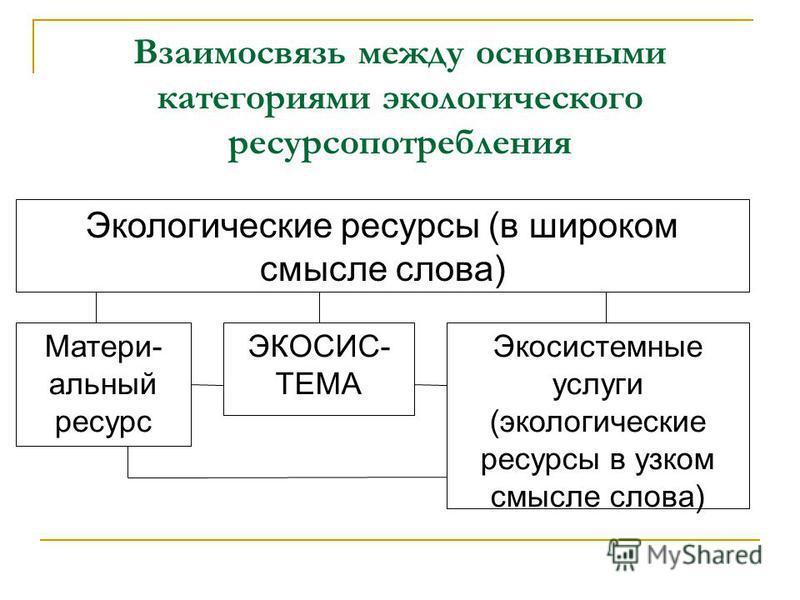 Взаимосвязь между основными категориями экологического ресурсопотребления Экологические ресурсы (в широком смысле слова) ЭКОСИС- ТЕМА Матери- альный ресурс Экосистемные услуги (экологические ресурсы в узком смысле слова)