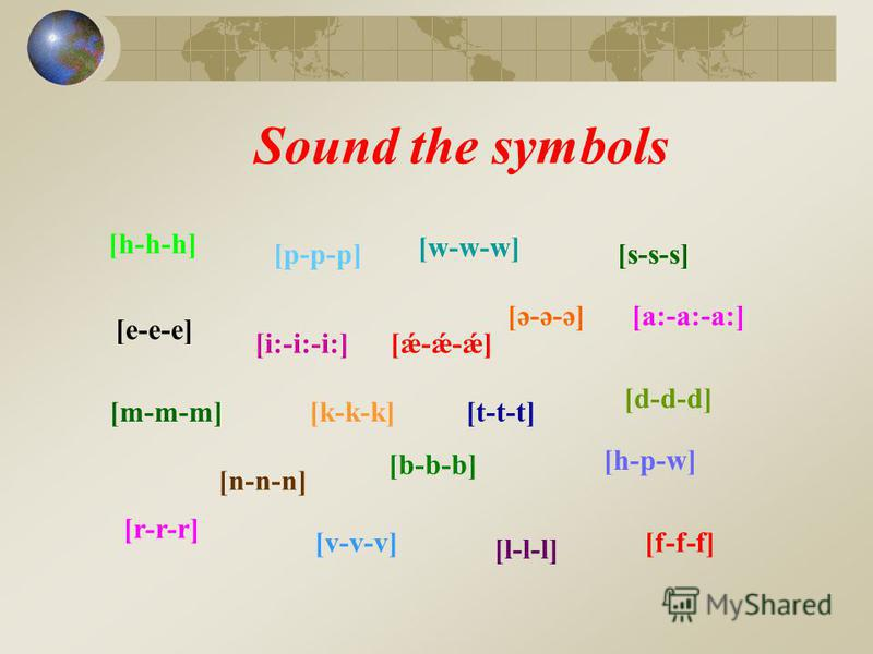 Sound the symbols [h-h-h] [a:-a:-a:][ə-ə-ə] [e-e-e] [i:-i:-i:] [n-n-n] [b-b-b] [h-p-w] [k-k-k] [l-l-l] [d-d-d] [m-m-m] [w-w-w] [p-p-p] [r-r-r] [f-f-f] [ǽ-ǽ-ǽ] [s-s-s] [v-v-v] [t-t-t]