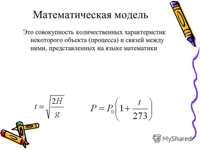 Математическая модель Это совокупность количественных характеристик некоторого объекта (процесса) и связей между ними, представленных на языке математики