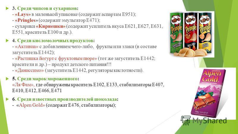 3. Среди чипсов и сухариков: - «Lays» в маленькой упаковке (содержит аспартам Е951); - «Pringles» (содержит эмульгатор Е471); - сухарики «Кириешки» (содержит усилитель вкуса Е621, Е627, Е631, Е551, краситель Е100 и др.). 4. Среди кисломолочных продук