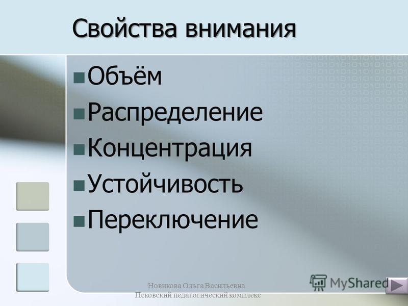 Организация внимания Новикова Ольга Васильевна Псковский педагогический комплекс