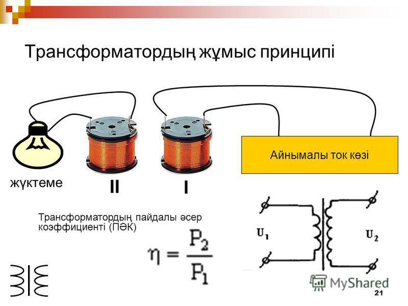 21 Трансформатордың жұмыс принципі Айнымалы ток көзі I II жүктеме Трансформатордың пайдалы әсер коэффициентi (ПӘК)