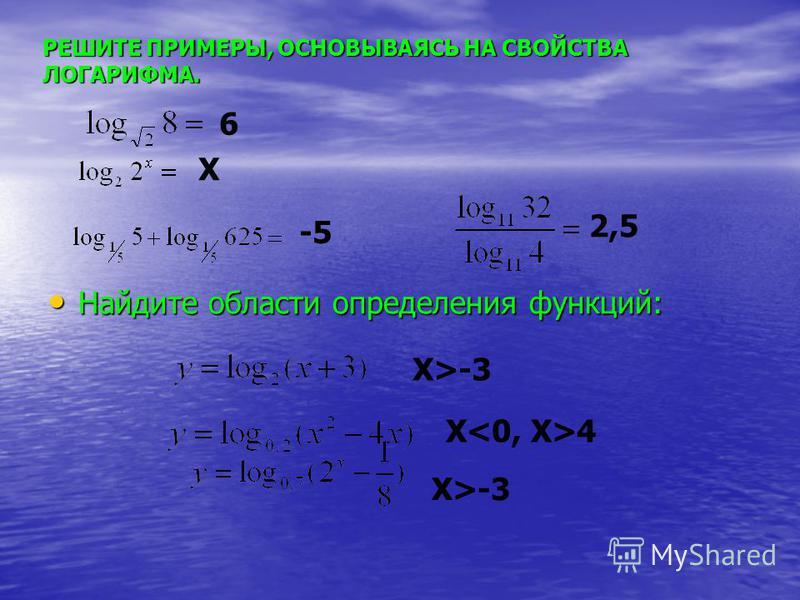 Найдите области определения функций: Найдите области определения функций: РЕШИТЕ ПРИМЕРЫ, ОСНОВЫВАЯСЬ НА СВОЙСТВА ЛОГАРИФМА. 6 X -5 2,5 X>-3 X>-3 X<0, X>4