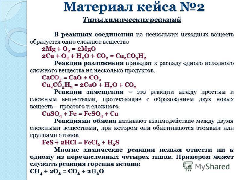Материал кейса 2 Типы химических реакций В реакциях соединения из нескольких исходных веществ образуется одно сложное вещество 2Mg + O 2 = 2MgO 2Cu + O 2 + H 2 O + CO 2 = Cu 2 CO 5 H 2 Реакции разложения приводят к распаду одного исходного сложного в