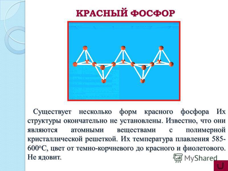 Существует несколько форм красного фосфора Их структуры окончательно не установлены. Известно, что они являются атомными веществами с полимерной кристаллической решеткой. Их температура плавления 585- 600 о С, цвет от темно-корчневого до красного и ф