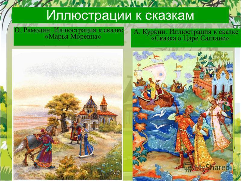 Иллюстрации к сказкам О. Рамодин. Иллюстрация к сказке «Марья Моревна» А. Куркин. Иллюстрация к сказке «Сказка о Царе Салтане»