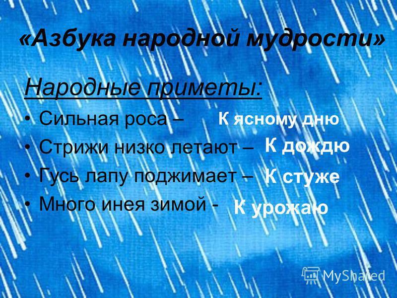 «Азбука народной мудрости» Народные приметы: Сильная роса – Стрижи низко летают – Гусь лапу поджимает – Много инея зимой - К ясному дню К дождю К стуже К урожаю