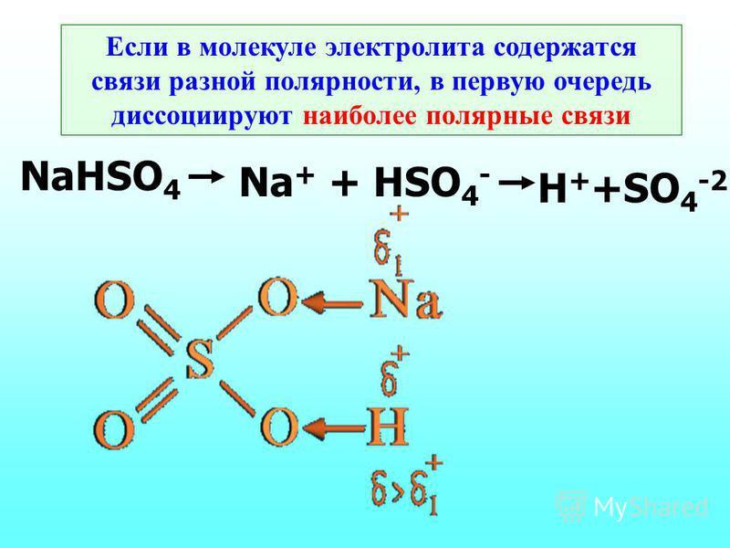 Если в молекуле электролита содержатся связи разной полярности, в первую очередь диссоциируют наиболее полярные связи NaHSO 4 Na + + HSO 4 - H + +SO 4 -2