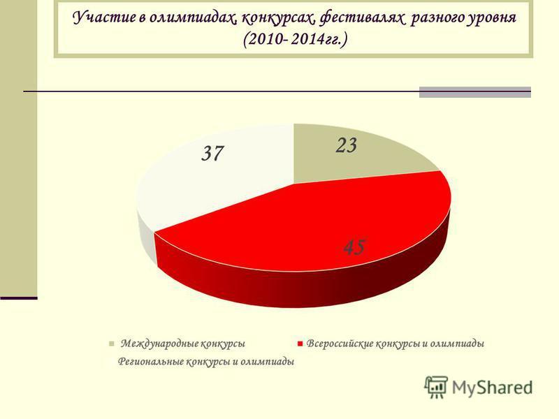 Участие в олимпиадах, конкурсах, фестивалях разного уровня (2010- 2014 гг.)