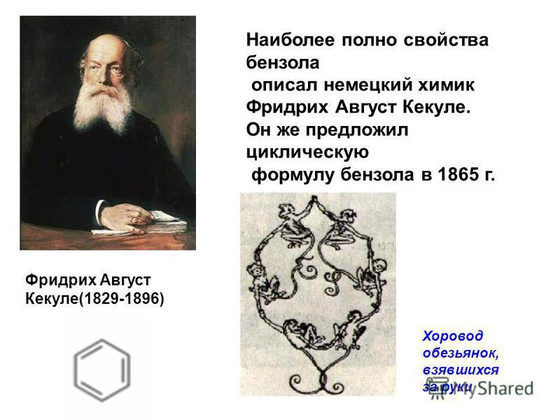 Наиболее полно свойства бензола описал немецкий химик Фридрих Август Кекуле. Он же предложил циклическую формулу бензола в 1865 г. Фридрих Август Кекуле(1829-1896) Хоровод обезьянок, взявшихся за руки