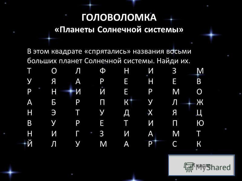 ГОЛОВОЛОМКА «Планеты Солнечной системы» В этом квадрате «спрятались» названия восьми больших планет Солнечной системы. Найди их. ТОЛФНИЗМ УЯАРЕНЕВ РНИИЕРМО АБРПКУЛЖ НЭТУДХЯЦ ВУРЕТИПЮ НИГЗИАМТ ЙЛУМАРСК К карте К карте