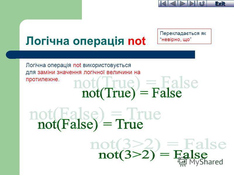Exit Логічна операція not Логічна операція not використовується для заміни значення логічної величини на протилежне. Перекладається якневірно, що