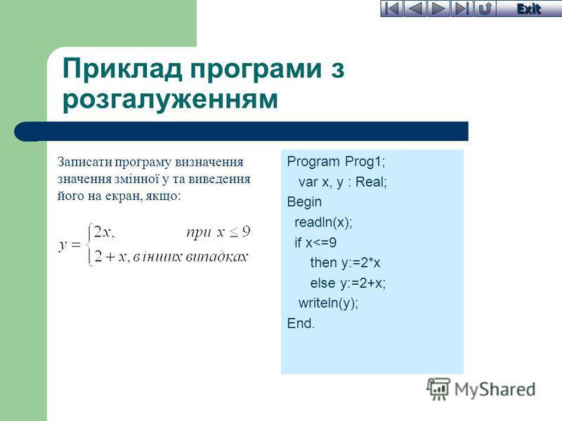 Exit Приклад програми з розгалуженням Program Prog1; var x, y : Real; Begin readln(x); if x<=9 then y:=2*x else y:=2+x; writeln(y); End. Записати програму визначення значення змінної y та виведення його на екран, якщо: