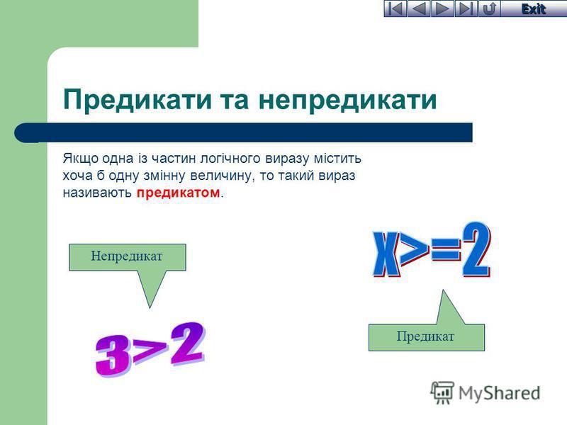 Exit Предикати та непредикати Якщо одна із частин логічного виразу містить хоча б одну змінну величину, то такий вираз називають предикатом. Непредикат Предикат