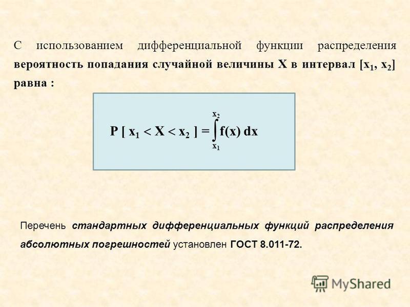 C использованием дифференциальной функции распределения вероятность попадания случайной величины X в интервал [x 1, x 2 ] равна : Перечень стандартных дифференциальных функций распределения абсолютных погрешностей установлен ГОСТ 8.011 72. P [ x 1 X