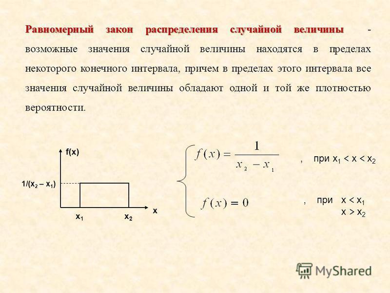 Равномерный закон распределения случайной величины Равномерный закон распределения случайной величины - возможные значения случайной величины находятся в пределах некоторого конечного интервала, причем в пределах этого интервала все значения случайно