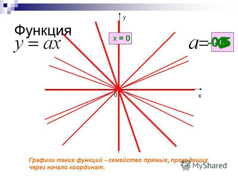 Функция Графики таких функций – семейство прямых, проходящих через начало координат. 0 0,5 1 х = 0 -3 -0,5 х у 0