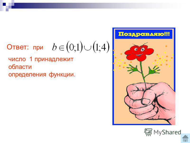 Ответ: при число 1 принадлежит области определения функции.