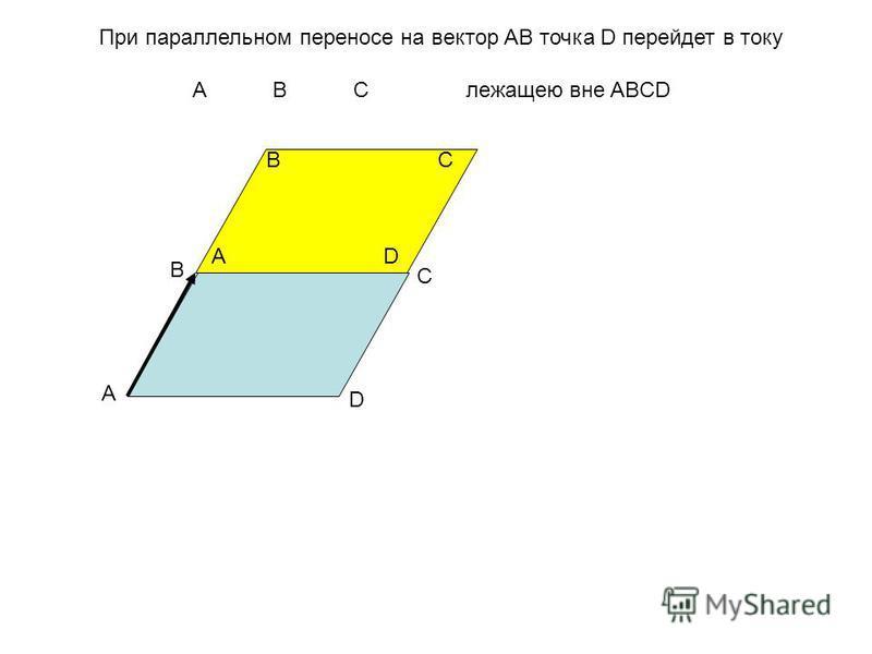 А В С D А ВС D При параллельном переносе на вектор АВ точка D перейдет в току A B C лежащею вне ABCD