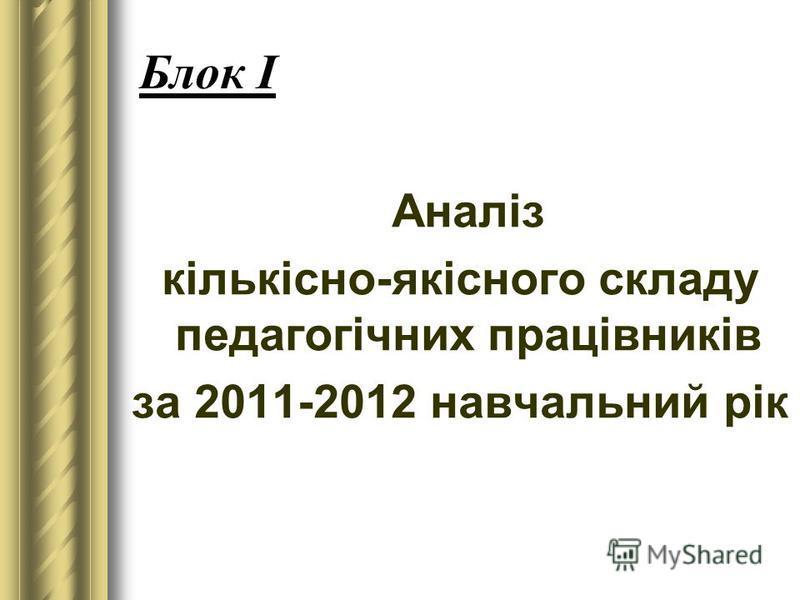 Блок І Аналіз кількісно-якісного складу педагогічних працівників за 2011-2012 навчальний рік