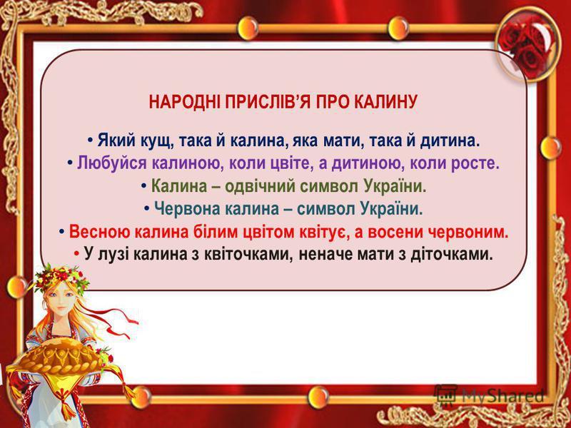 НАРОДНІ ПРИСЛІВЯ ПРО КАЛИНУ Який кущ, така й калина, яка мати, така й дитина. Любуйся калиною, коли цвіте, а дитиною, коли росте. Калина – одвічний символ України. Червона калина – символ України. Весною калина білим цвітом квітує, а восени червоним.