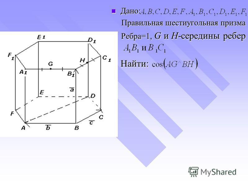 Дано: Дано: Правильная шестиугольная призма Ребра=1, G и H-середины ребер Найти: Найти: