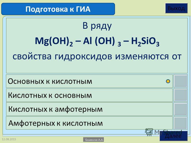 12.08.2015 В ряду Mg(OH) 2 – Al (OH) 3 – H 2 SiO 3 свойства гидроксидов изменяются от Основных к кислотным Кислотных к основным Кислотных к амфотерным Амфотерных к кислотным Подготовка к ГИА