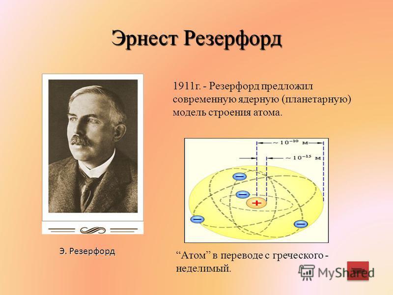 Эрнест Резерфорд Э. Резерфорд 1911 г. - Резерфорд предложил современную ядерную (планетарную) модель строения атома. Атом в переводе с греческого - неделимый.