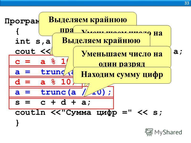 33 Программа { int s,a,c,d; cout > a; c = a % 10; a = trunc(a / 10); d = a % 10; a = trunc(a / 10); s = c + d + a; coutln <<