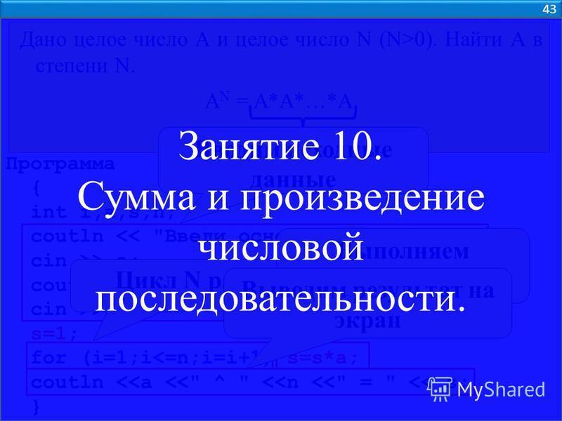 43 Дано целое число А и целое число N (N>0). Найти А в степени N. A N = A*A*…*A N раз Программа { int i,a,s,n; coutln <<