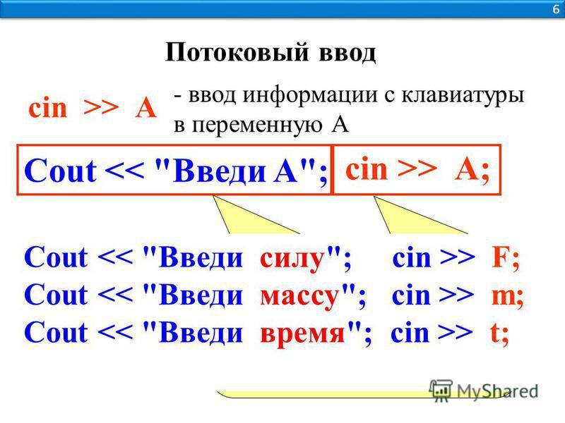 sin >> А - ввод информации с клавиатуры в переменную А Выводим поясняющую надпись, что вводить Ждем, пока пользователь не введет с клавиатуры значение и нажмет Enter Cout > F; Cout > m; Cout > t; cin >> А; Cout << Введи A; Потоковый ввод 6 6
