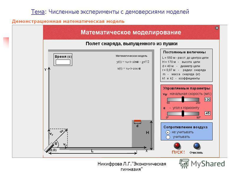 Тема: Численные эксперименты с демоверсиями моделей