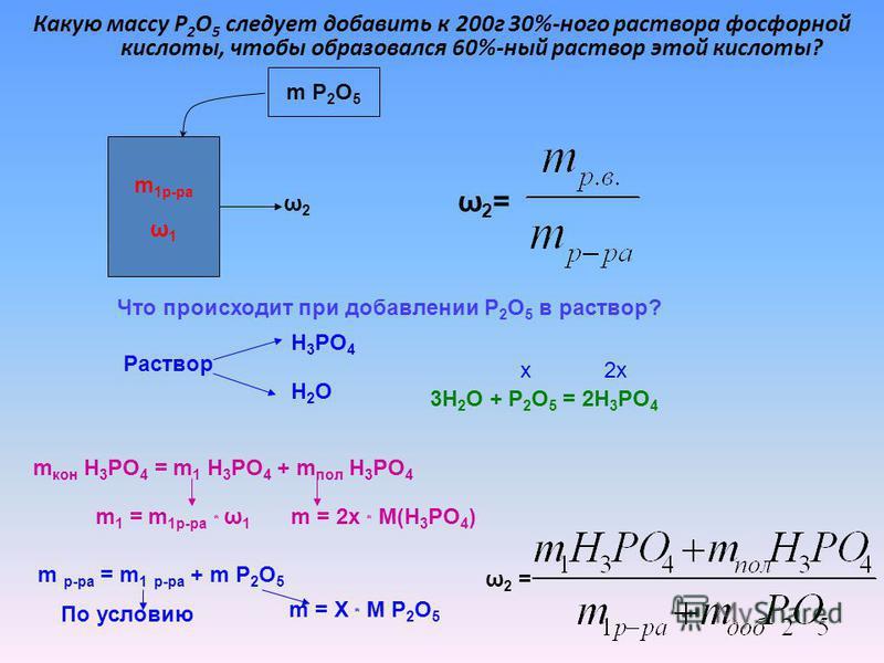 Какую массу P 2 O 5 следует добавить к 200 г 30%-ного раствора фосфорной кислоты, чтобы образовался 60%-ный раствор этой кислоты? m 1 р-ра ω 1 m P 2 O 5 ω2ω2 ω2=ω2= Что происходит при добавлении P 2 O 5 в раствор? Раствор H 3 PO 4 H2OH2O 3H 2 O + P 2