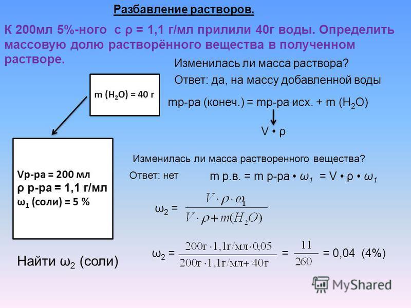 Разбавление растворов. К 200 мл 5%-ного с ρ = 1,1 г/мл прилили 40 г воды. Определить массовую долю растворённого вещества в полученном растворе. Vр-ра = 200 мл ρ р-ра = 1,1 г/мл ω 1 (соли) = 5 % Найти ω 2 (соли) m (H 2 O) = 40 г Изменилась ли масса р