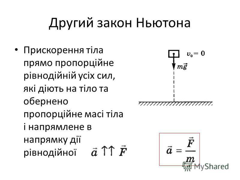 Другий закон Ньютона Прискорення тіла прямо пропорційне рівнодійній усіх сил, які діють на тіло та обернено пропорційне масі тіла і напрямлене в напрямку дії рівнодійної