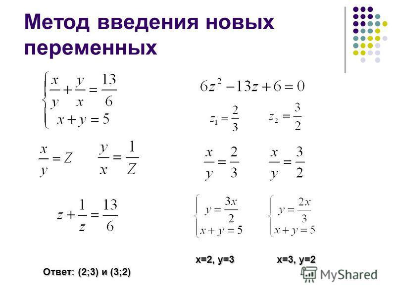 Метод введения новых переменных x=2, y=3 x=3, y=2 Ответ: (2;3) и (3;2)