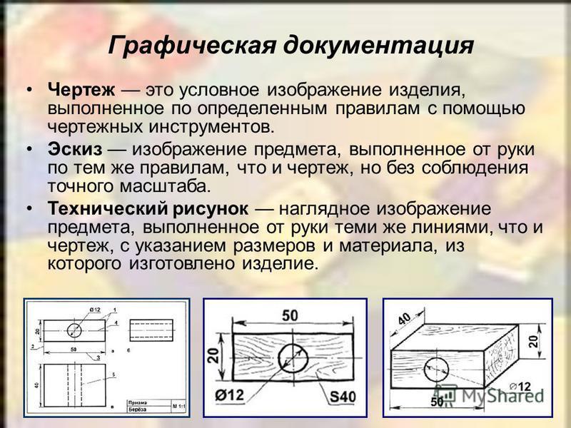 Графическая документация Чертеж это условное изображение изделия, выполненное по определенным правилам с помощью чертежных инструментов. Эскиз изображение предмета, выполненное от руки по тем же правилам, что и чертеж, но без соблюдения точного масшт