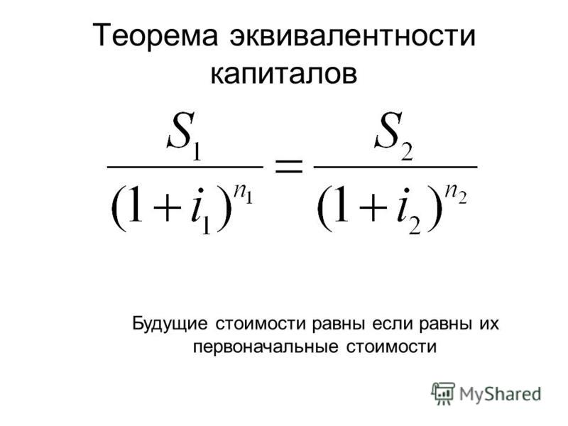 Теорема эквивалентности капиталов Будущие стоимости равны если равны их первоначальные стоимости