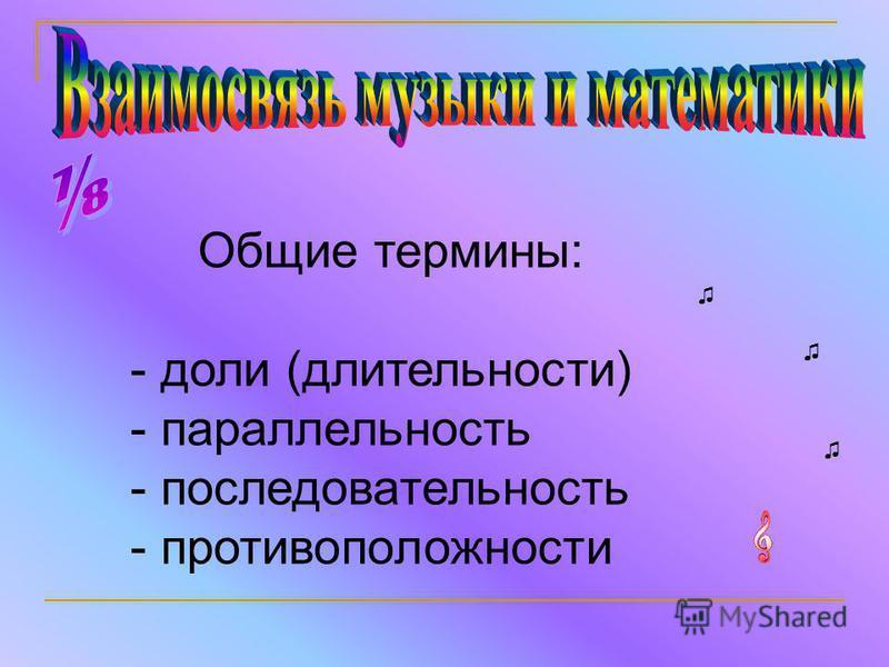Общие термины: - доли (длительности) - параллельность - последовательность - противоположности
