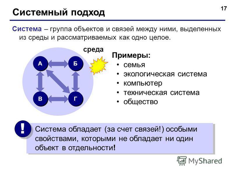 17 Системный подход Система – группа объектов и связей между ними, выделенных из среды и рассматриваемых как одно целое. Примеры: семья экологическая система компьютер техническая система общество А А Б Б В В Г Г среда Система обладает (за счет связе