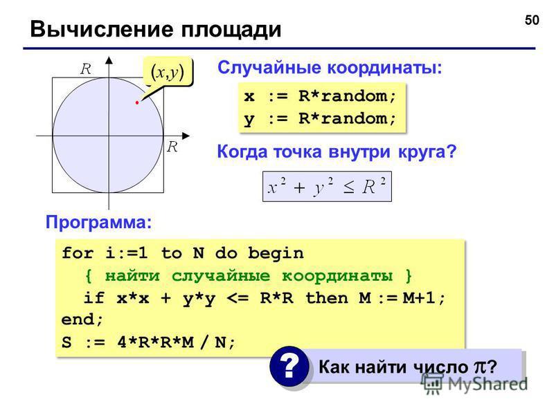 50 Вычисление площади Когда точка внутри круга? (x,y)(x,y) (x,y)(x,y) Случайные координаты: x := R*random; y := R*random; x := R*random; y := R*random; Программа: for i:=1 to N do begin { найти случайные координаты } if x*x + y*y <= R*R then M := M+1
