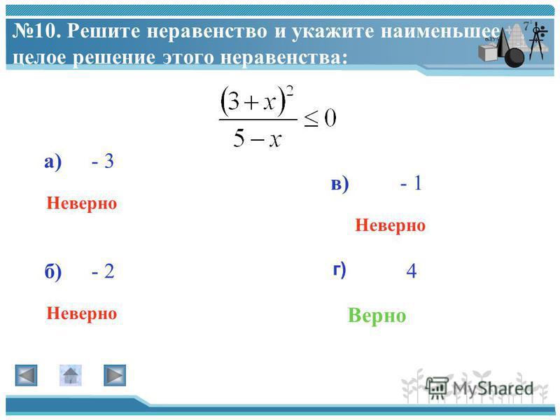 9. Решите неравенство: –х 2 + 9 > 0 а) г) в) б) Верно Неверно
